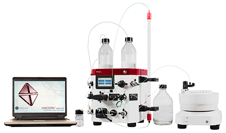 Image: The ÄKTA start protein purification system with the Frac30 fraction collector (Photo courtesy of GE Life Sciences).