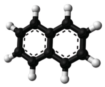 Image: Ball-and-stick model of the naphthalene molecule, as determined from X-ray crystallographic data (Photo courtesy of Wikimedia Commons).