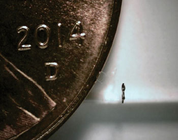 Image: Side view of the microrobot next to a US penny (Photo courtesy of Purdue University).