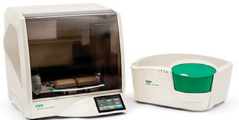 Image: The AutoDG Droplet Generator (left) with the QX200 Droplet Digital PCR System (right) (Photo courtesy of Bio-Rad).