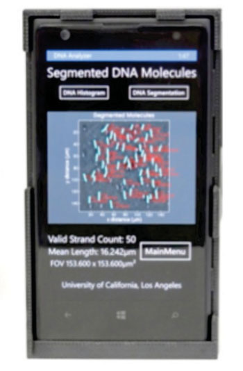 Image: Imaging and sizing of single DNA molecules on a mobile-phone (Photo courtesy of the Ozcan Lab at UCLA - the University of California, Los Angeles).