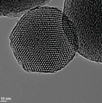 Image: TEM (transmission electron micrograph) of a mesoporous silica nanoparticle (Photo courtesy of Wikimedia Commons).