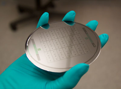 "Image: Wafers like the one shown here are used to create ""organ-on-a-chip"" devices to model human tissue (Photo courtesy of Dr. Anurag Mathur, University of California, Berkeley)."