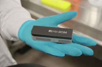 Image: Close up of the MinION nanopore sequencer (Photo courtesy of Dr. Andrew Kilianski, Edgewood Chemical Biological Center).