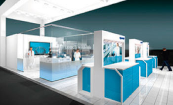 "Image: The ""glass"" laboratory exhibit was designed to explain typical applications and processes in the cell biology/bioprocess laboratory setting (Photo courtesy of Eppendorf)."
