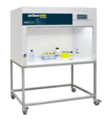 Image: The horizontal clean bench is available in several sizes and can be placed on a bench top or a cart/stand (Photo courtesy of AirClean Systems).